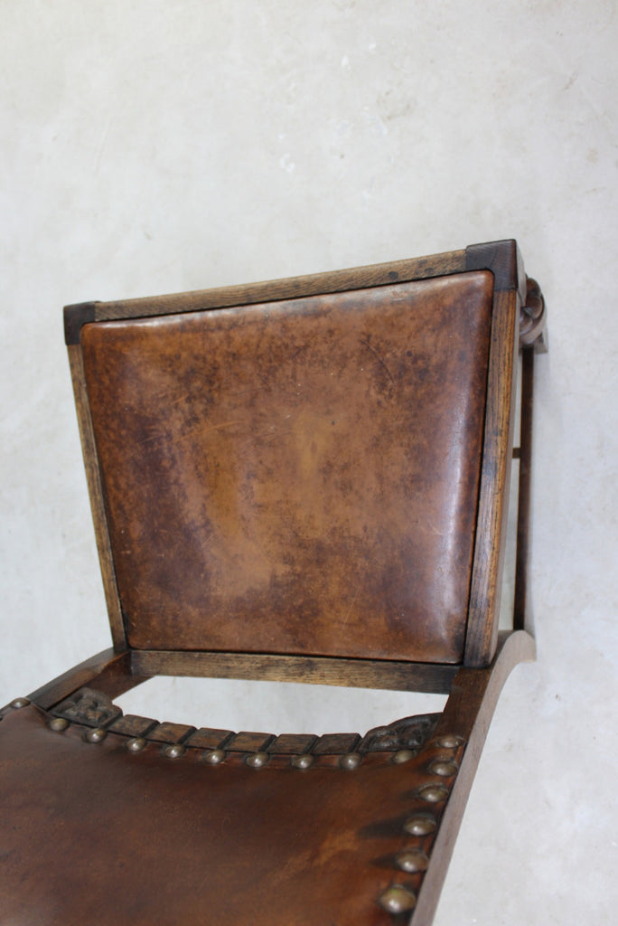 Single Vintage Leather Dining Chair - Kernow Furniture