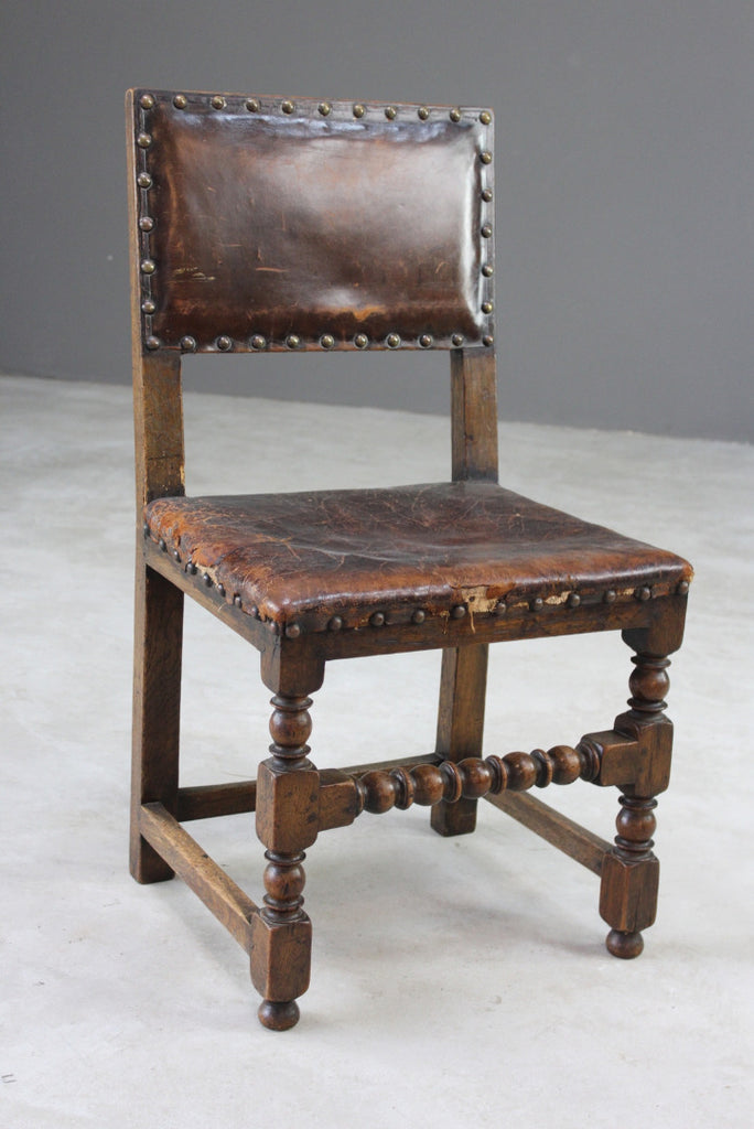Single Vintage Oak & Leather Dining Chair - Kernow Furniture