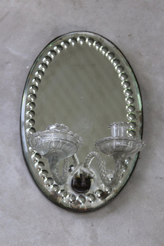 Antique Victorian Oval Mirror Wall Sconce