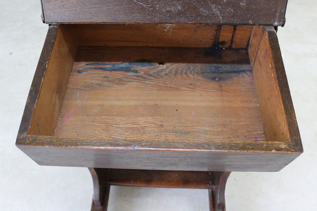 Antique Oak Childs School Desk - Kernow Furniture