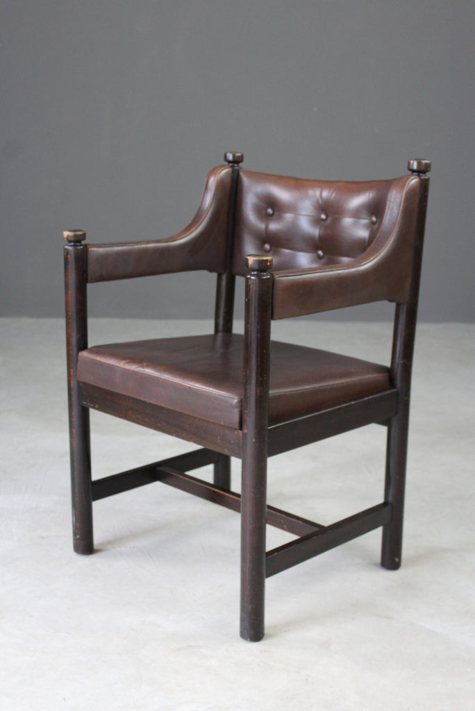 Retro Swedish Gemla Brown Leather Occasional Study Side Chair