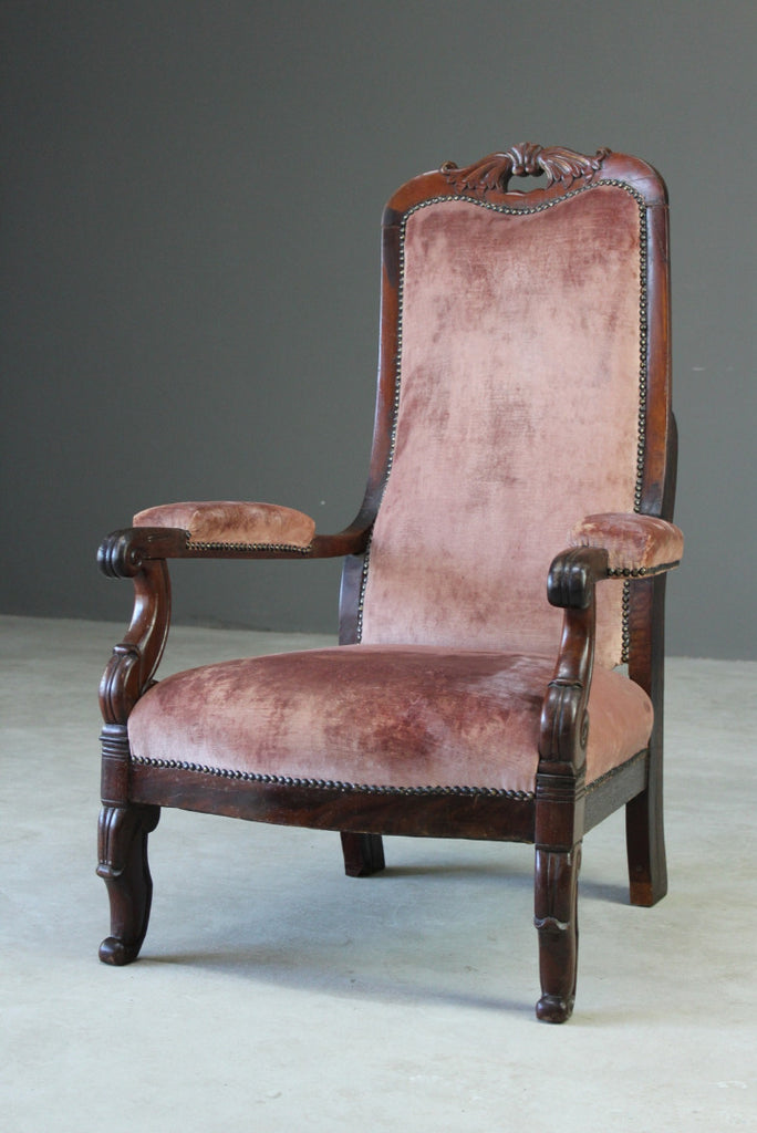Victorian Mahogany Open Arm Chair - Kernow Furniture