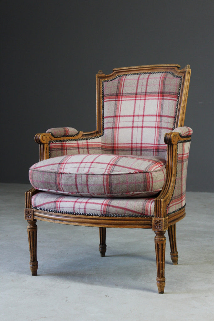 Antique Style Upholstered Tartan Armchair