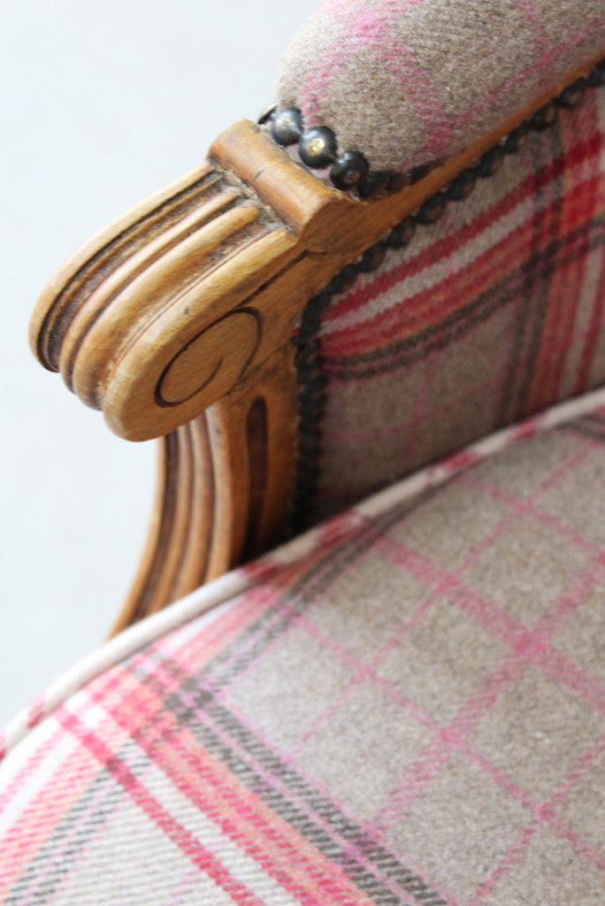 Antique Style Upholstered Tartan Armchair - Kernow Furniture