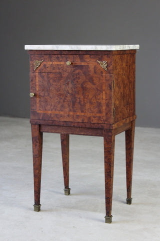 French Marble Top Bedside Cabinet