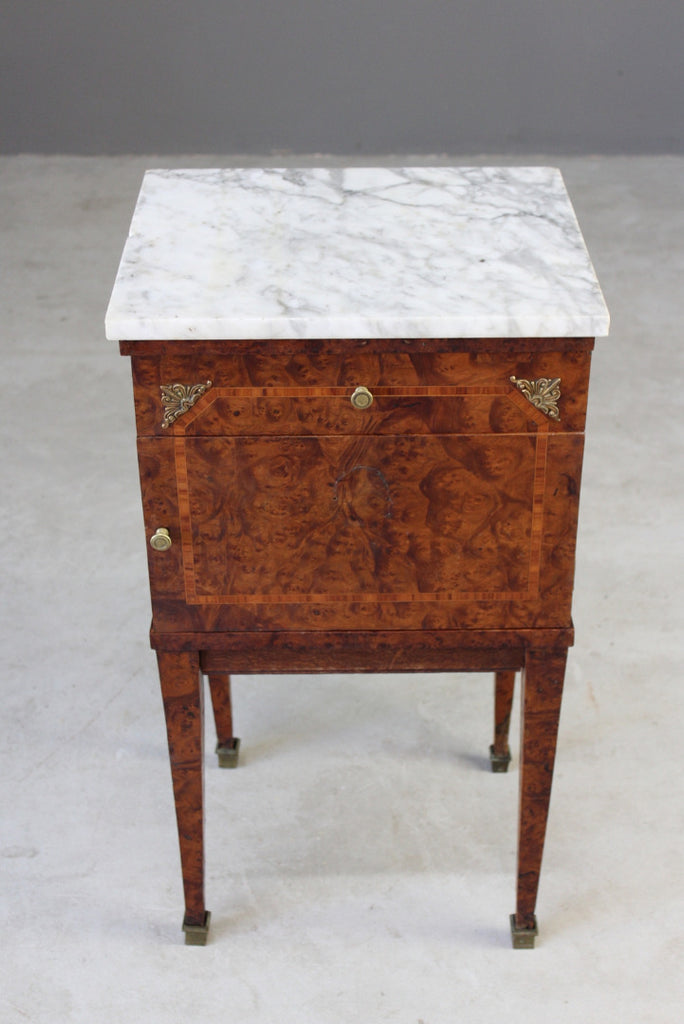 French Marble Top Bedside Cabinet - Kernow Furniture