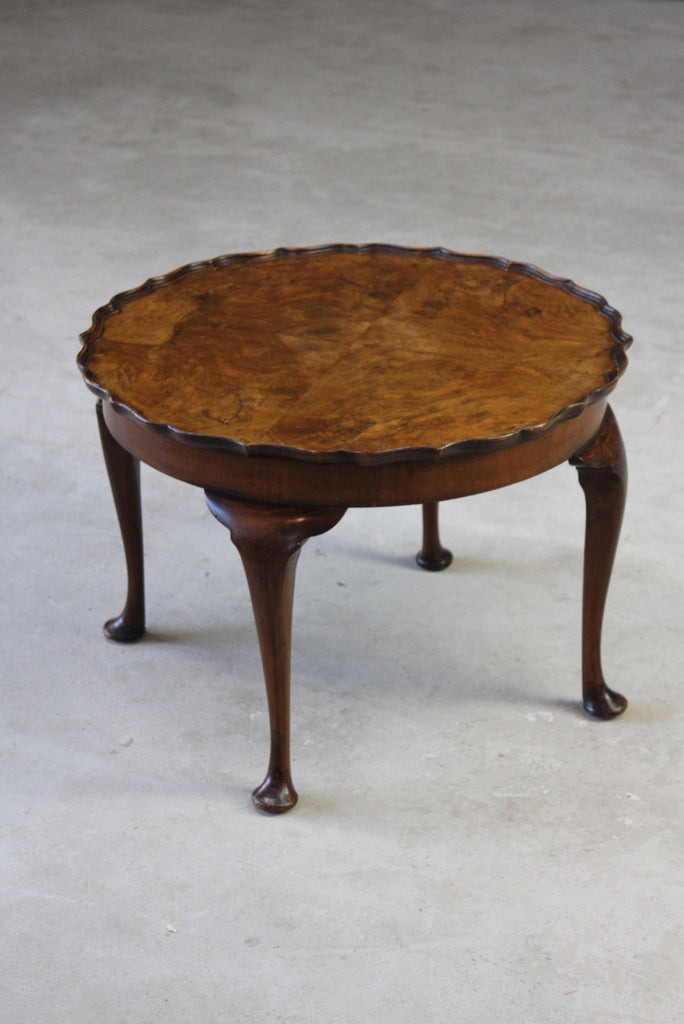 Vintage Walnut Veneer Pie Crust Coffee Table - Kernow Furniture
