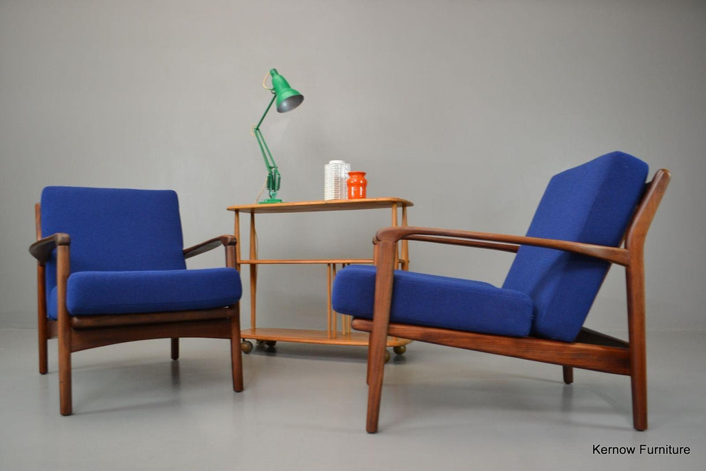 Mid Century Greaves & Thomas Pair Afromosia Armchairs Easy Chairs