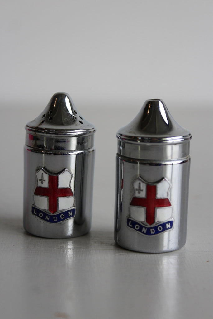 Vintage Chrome Salt & Pepper Pots - Kernow Furniture