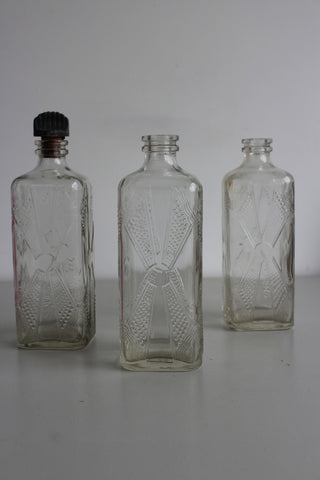 3 x Vintage Glass Cordial Bottles
