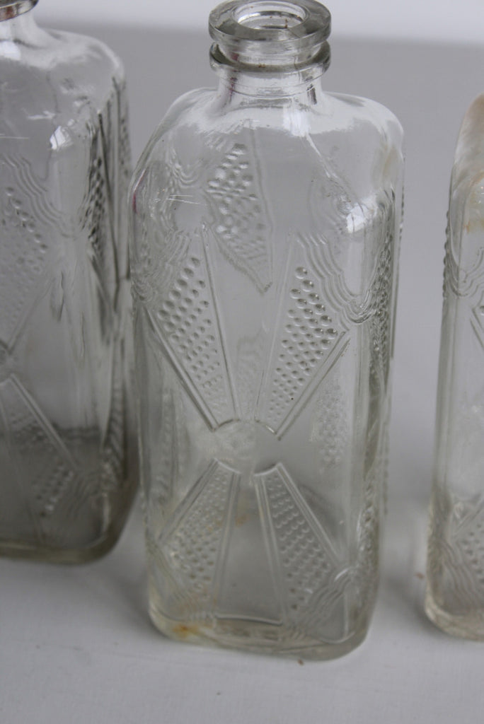 3 x Vintage Glass Cordial Bottles - Kernow Furniture