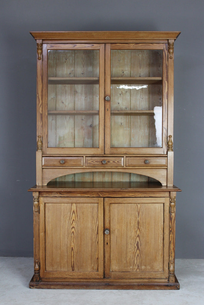 Antique Victorian Pitch Pine Glazed Dresser - Kernow Furniture