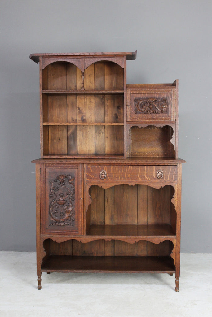 Antique Victorian Oak Side Cabinet - Kernow Furniture