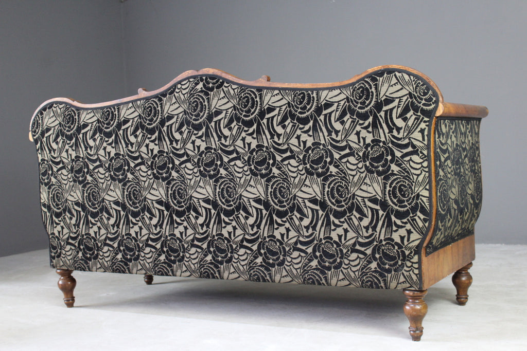 Upholstered Walnut Biedermeier Sofa - Kernow Furniture
