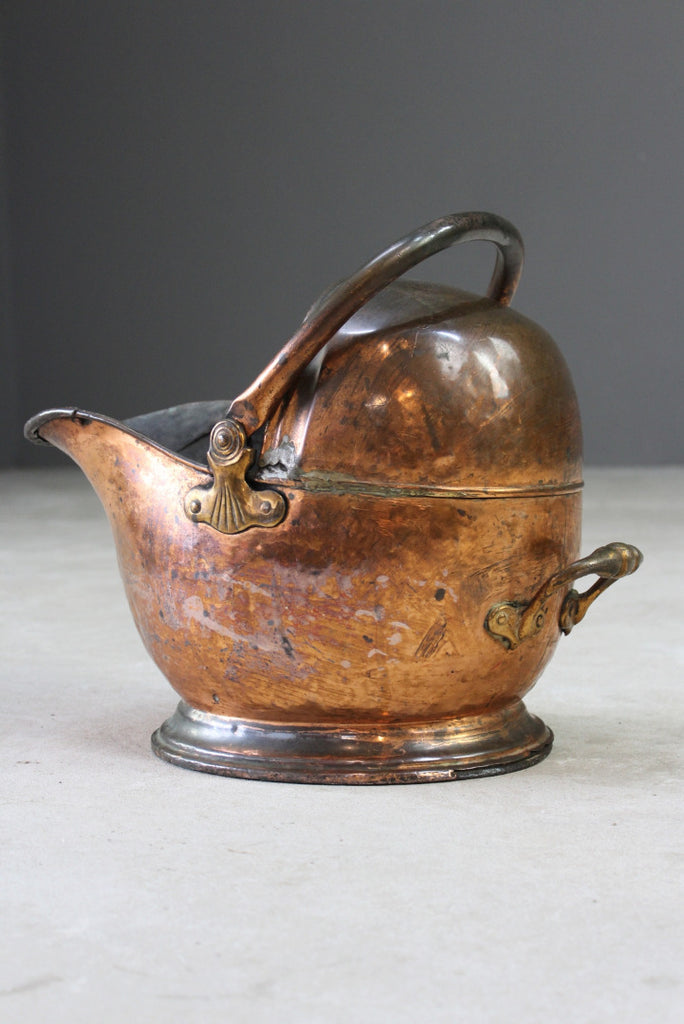 Victorian Copper Coal Scuttle - Kernow Furniture