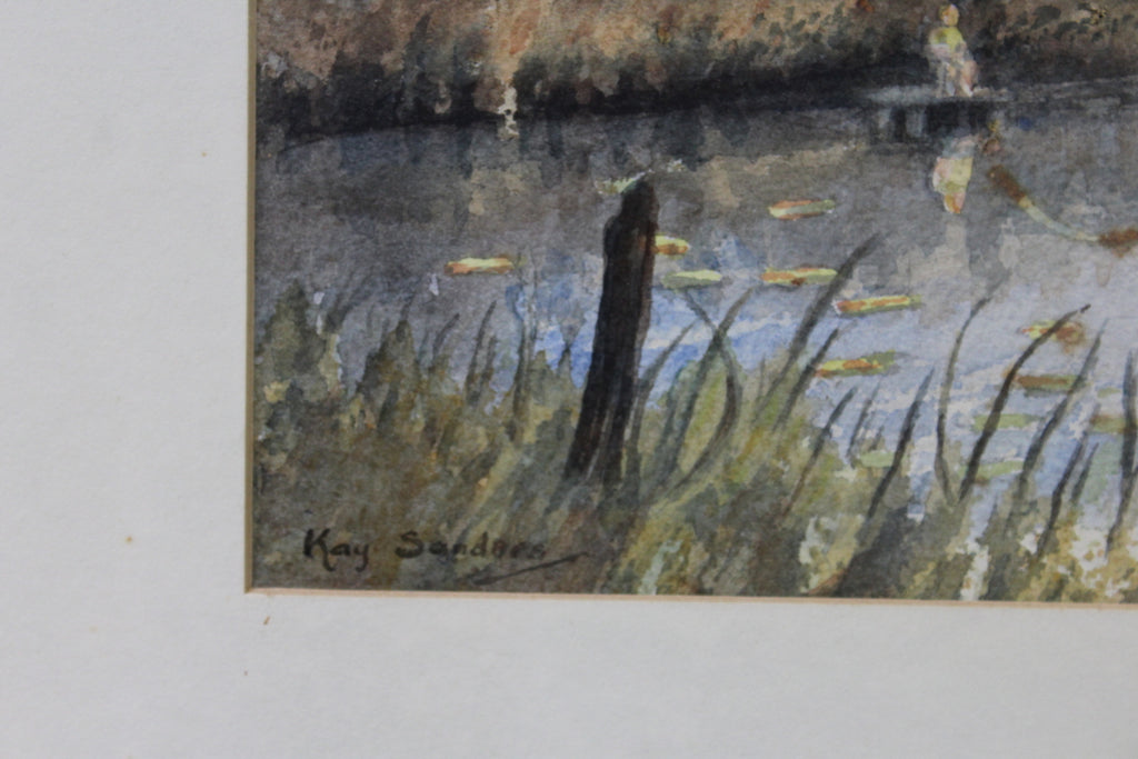 Boy Fishing Patching Pond - Kay Sanders Watercolour - Kernow Furniture
