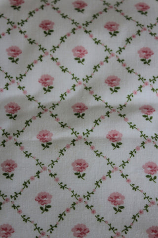 Pair Vintage Laura Ashley Floral Rose Trellis Curtains