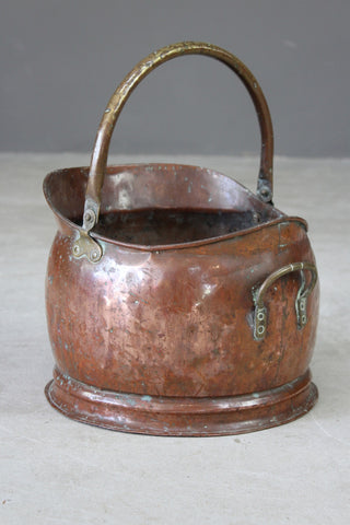 Vintage Copper Coal Scuttle - Kernow Furniture