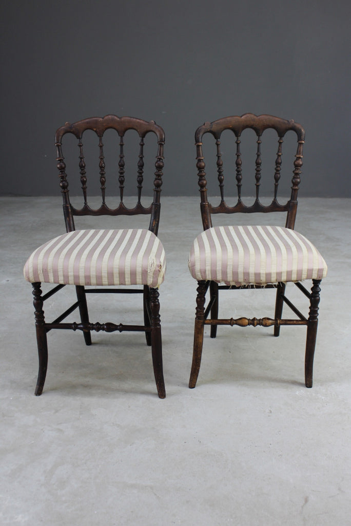 Pair Regency Style Spindle Back Chairs - Kernow Furniture