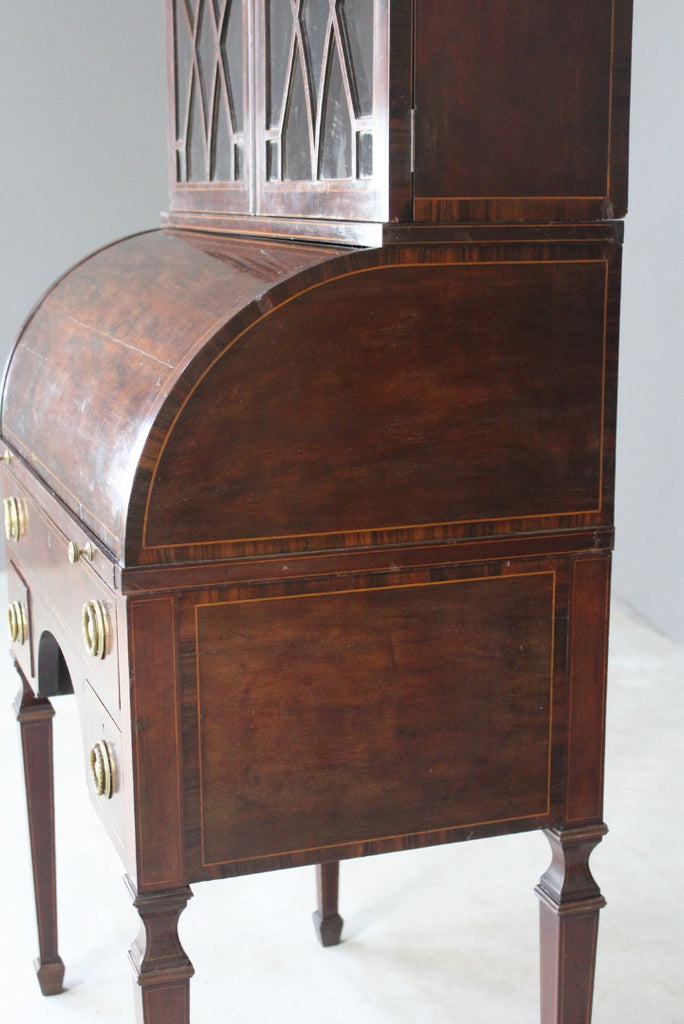 Antique Georgian Style Cylinder Bureau Cabinet - Kernow Furniture