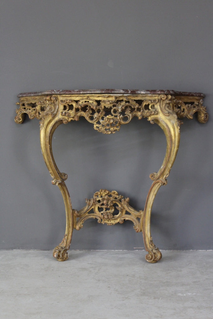Antique Rococo Revival Giltwood Console Table - Kernow Furniture