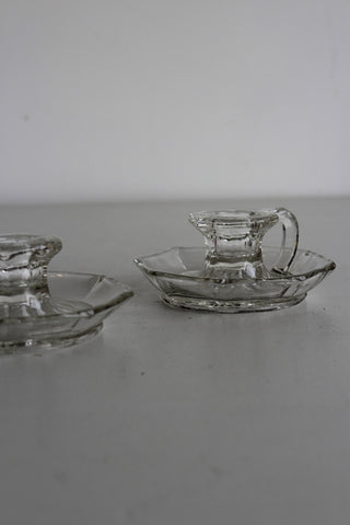 Pair Glass Candle Holder