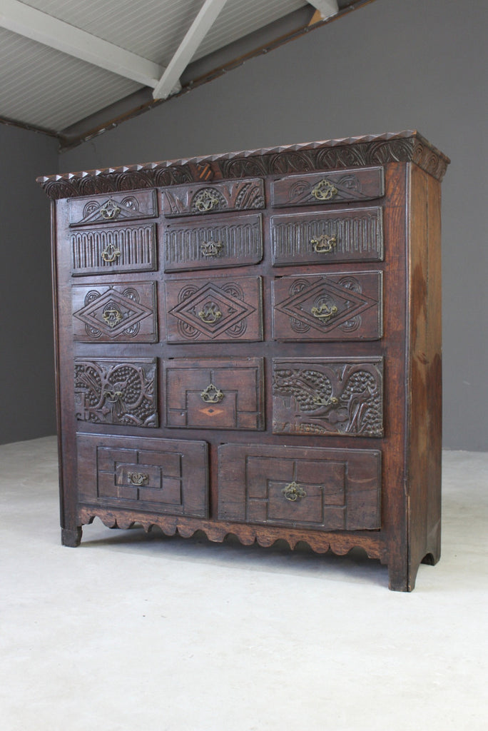 Antique Carved Oak Bank of Drawers - Kernow Furniture