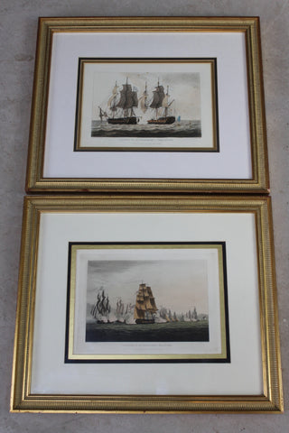 Pair Antique Framed Naval Prints - Kernow Furniture