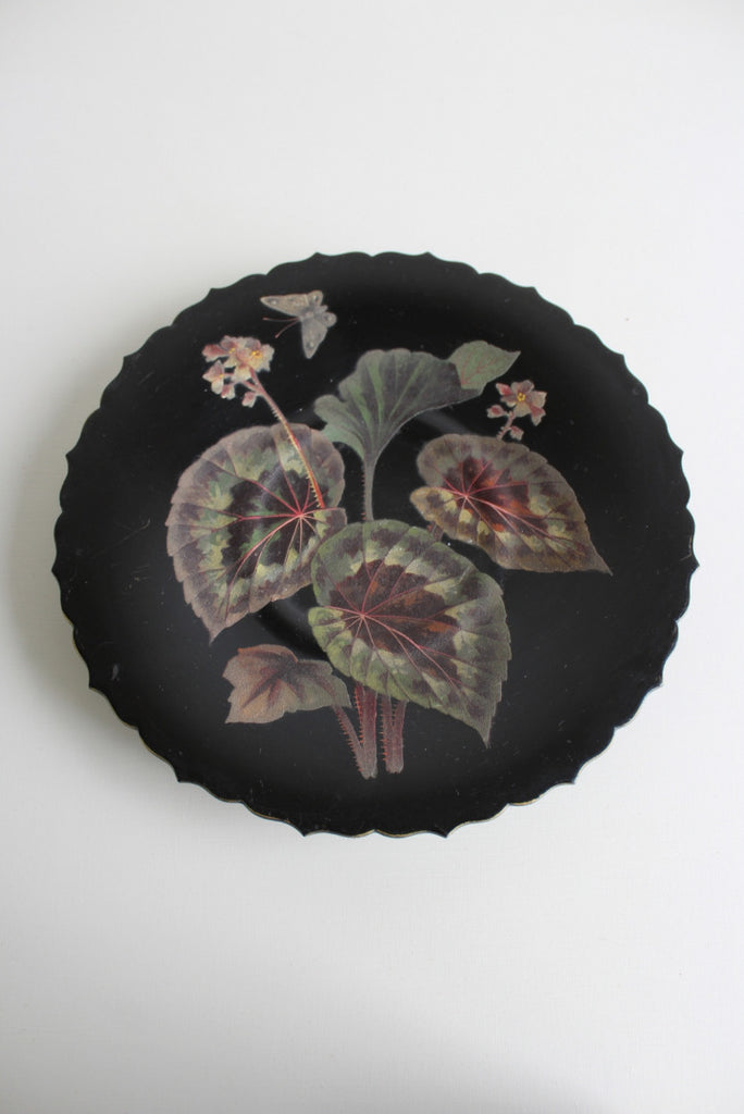 Black Lacquer Floral Dish - Kernow Furniture