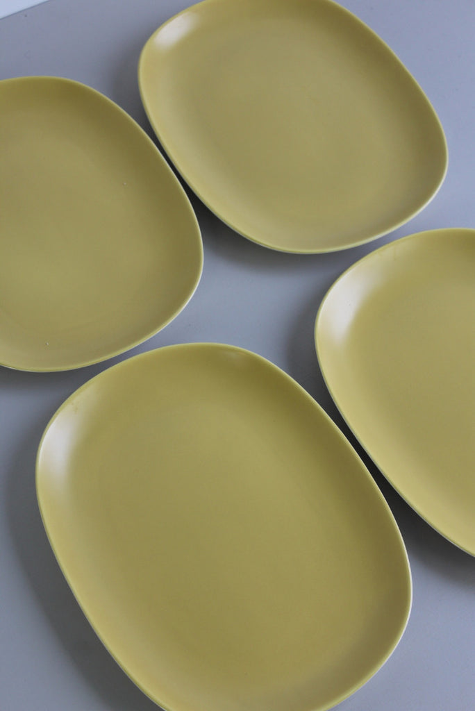 4 Retro Yellow Poole Pottery Dinner Plates - Kernow Furniture