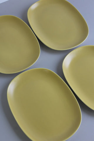 4 Retro Yellow Poole Pottery Dinner Plates