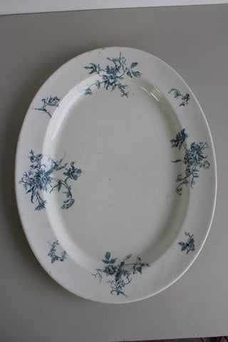 Large Blue & White Floral Serving Plate
