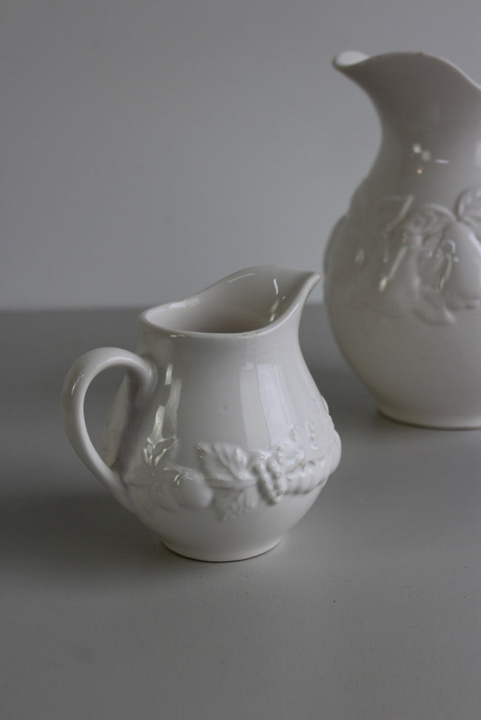 Pair Vintage M&S White Jugs - Kernow Furniture