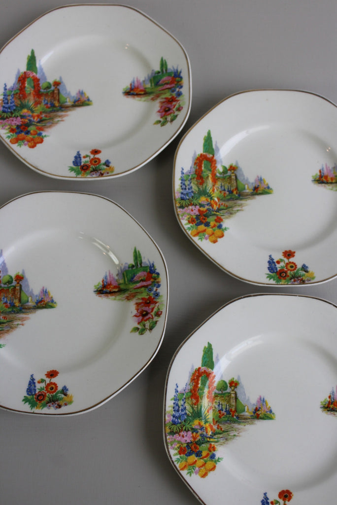 4 Vintage 1940s Tea Plates - Kernow Furniture