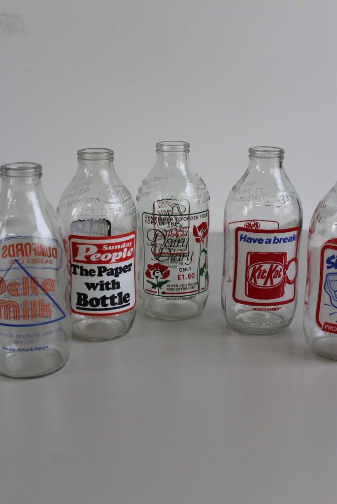 5 Vintage Glass Pint Milk Bottles - Kernow Furniture