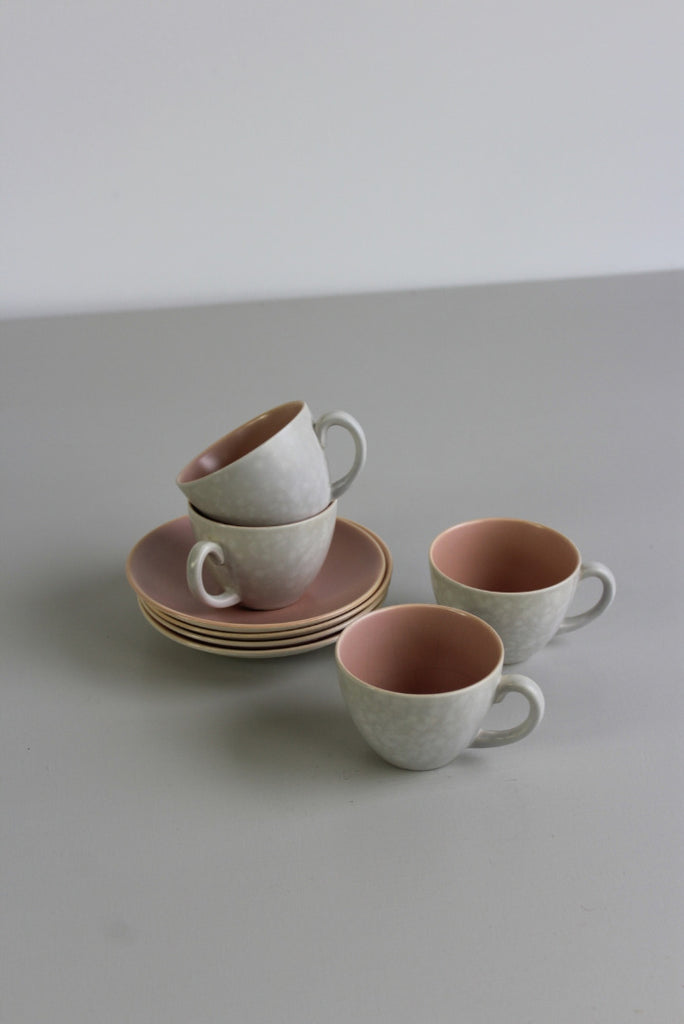vintage poole pottery twin tone coffee cups and saucers