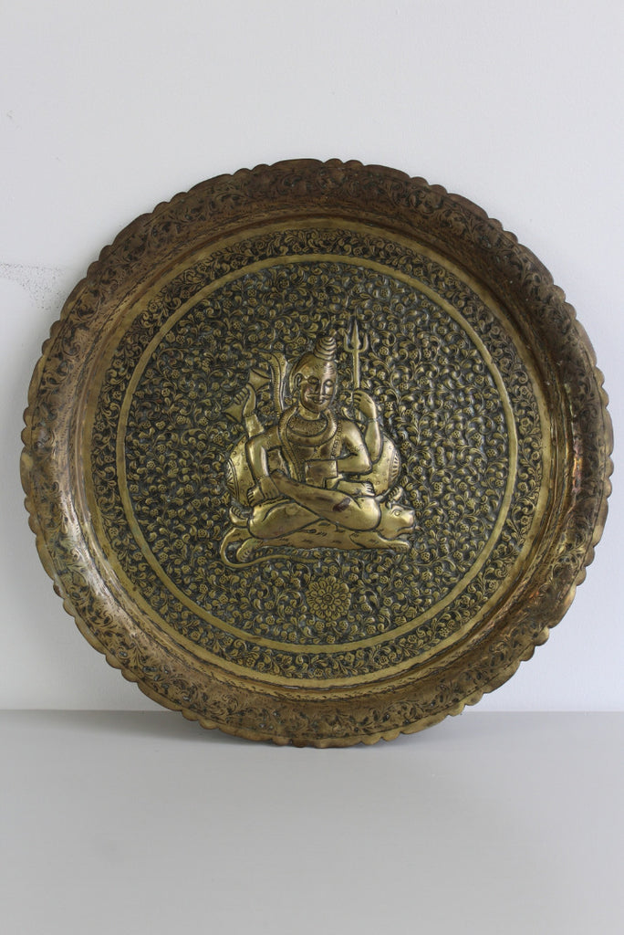 Decorative Indian Brass Tray - Kernow Furniture