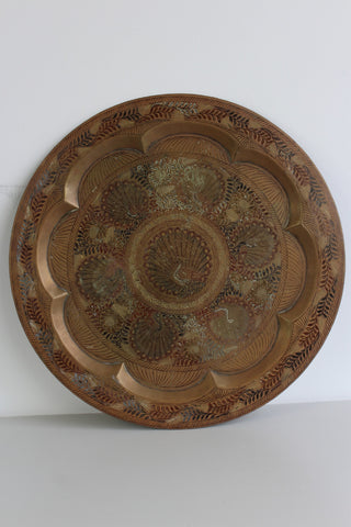 Vintage Eastern Brass Peacock Tray - Kernow Furniture