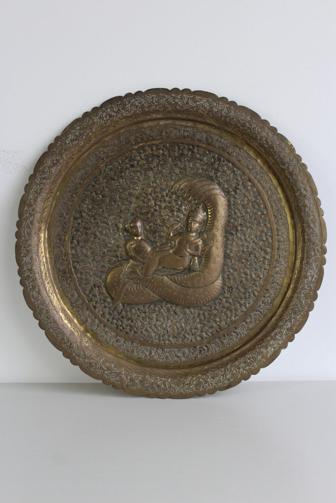vintage eastern brass decorative wall plaque
