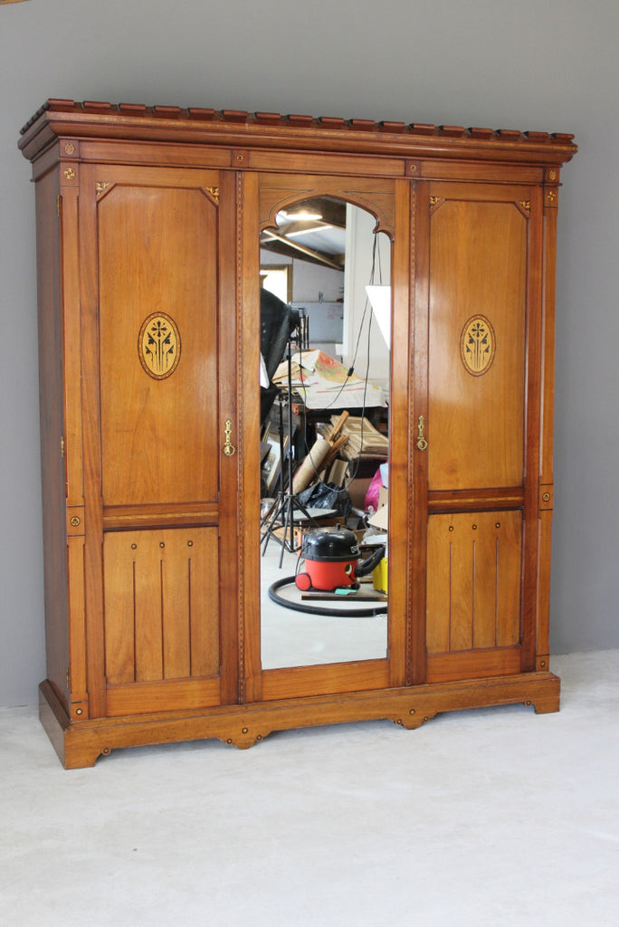 Antique Victorian Aesthetic Movement Triple Wardrobe - Kernow Furniture