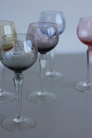 Coloured Glass Hock Wine Glasses - Kernow Furniture