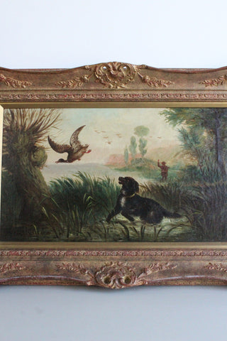 English School - Duck Shooting Scene - Painting - Kernow Furniture
