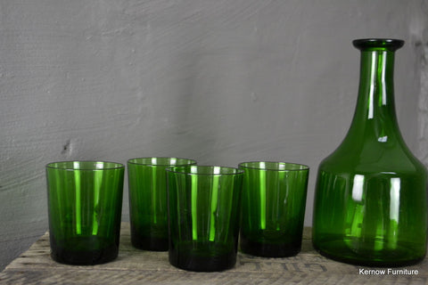 Green Glass Decanter & 4 Tumblers - Kernow Furniture 100s vintage, retro & antique items in stock