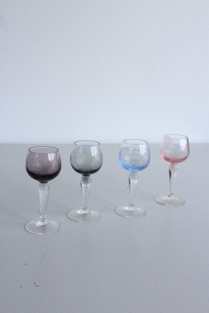 4 Vintage Coloured Glass Liquer Glasses - Kernow Furniture