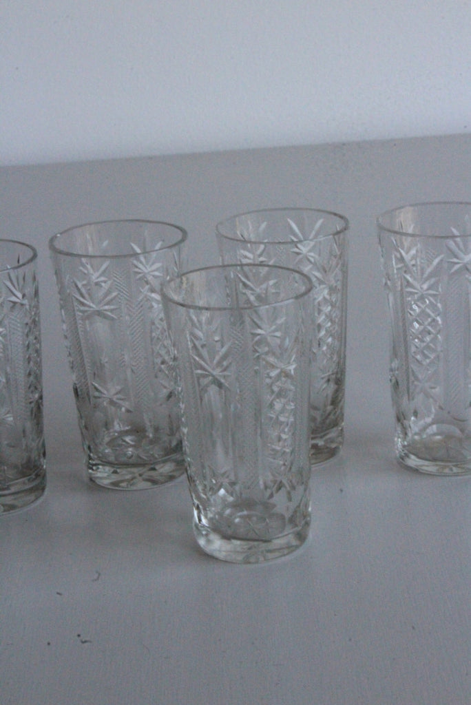 6 Vintage Cut Glass Liquer Glasses - Kernow Furniture