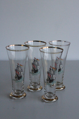 4 Vintage Lager Glasses - Kernow Furniture