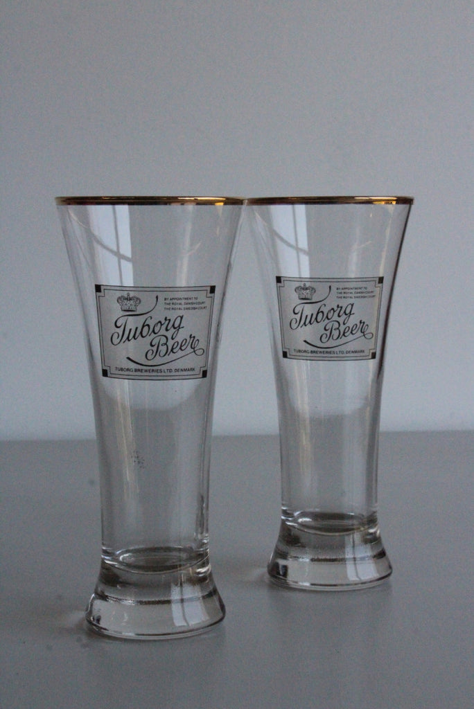 Pair Vintage Tuborg Pilsner Glasses - Kernow Furniture