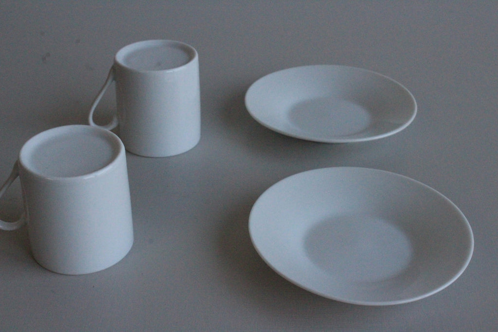 Pair White Espresso Cups - Kernow Furniture