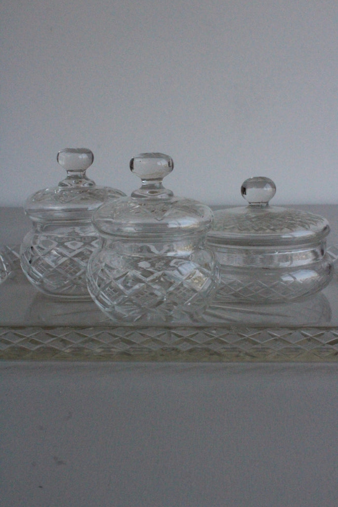 Vintage Cut Glass Dressing Table Set - Kernow Furniture