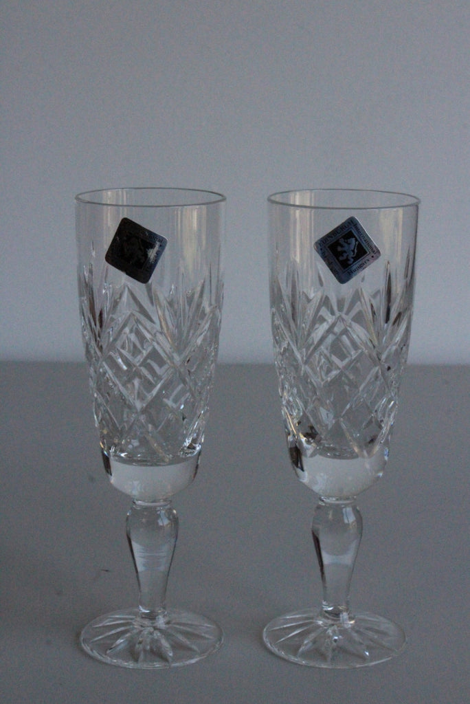 Pair Edinburgh Crystal Flutes - Kernow Furniture
